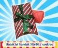 Pillow Box stripes candy merah-hijau untuk handuk/confectionaries